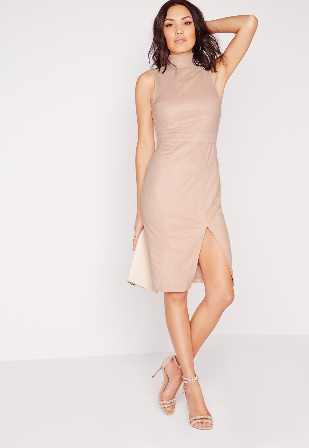 Faux Suede High Neck Midi Dress Nude, Beige - style: shift; fit: tailored/fitted; pattern: plain; sleeve style: sleeveless; neckline: high neck; predominant colour: nude; occasions: evening; length: on the knee; fibres: polyester/polyamide - 100%; sleeve length: sleeveless; pattern type: fabric; texture group: suede; season: s/s 2016; wardrobe: event
