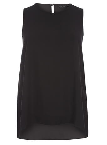 Womens Black Dip Hem Shell Top Black - pattern: plain; sleeve style: sleeveless; length: below the bottom; predominant colour: black; occasions: evening; style: top; fibres: polyester/polyamide - 100%; fit: body skimming; neckline: crew; sleeve length: sleeveless; texture group: crepes; pattern type: fabric; season: s/s 2016; wardrobe: event
