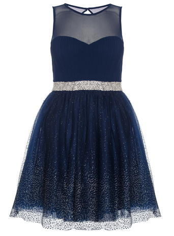 Womens *Quiz Chiffon Glitter Prom Dress Blue - length: mid thigh; pattern: plain; sleeve style: sleeveless; style: full skirt; bust detail: sheer at bust; predominant colour: navy; occasions: evening; fit: fitted at waist & bust; fibres: polyester/polyamide - 100%; neckline: crew; sleeve length: sleeveless; texture group: sheer fabrics/chiffon/organza etc.; pattern type: fabric; embellishment: glitter; season: s/s 2016; wardrobe: event; embellishment location: skirt