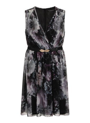 Womens **Little Mistress Curve Dark Rose Print Prom Dress Pink - style: faux wrap/wrap; length: mid thigh; neckline: v-neck; sleeve style: sleeveless; waist detail: belted waist/tie at waist/drawstring; secondary colour: mid grey; predominant colour: black; occasions: evening; fit: body skimming; fibres: polyester/polyamide - 100%; sleeve length: sleeveless; texture group: sheer fabrics/chiffon/organza etc.; pattern type: fabric; pattern size: big & busy; pattern: florals; multicoloured: multicoloured; season: s/s 2016; wardrobe: event