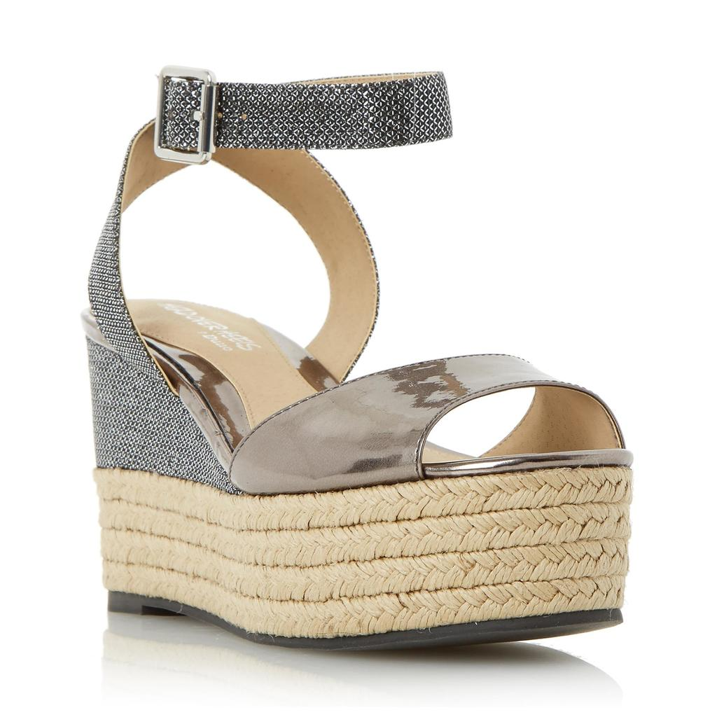 Kalmia Two Part Espadrille Wedge Sandal - secondary colour: denim; predominant colour: stone; occasions: casual; material: fabric; heel height: mid; ankle detail: ankle strap; heel: wedge; toe: open toe/peeptoe; style: strappy; finish: plain; pattern: plain; shoe detail: platform; season: s/s 2016; wardrobe: investment