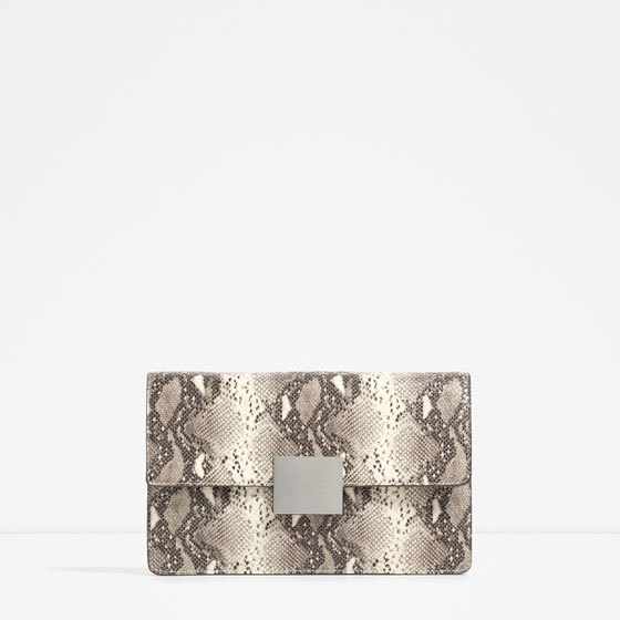 Embossed Clutch - predominant colour: taupe; secondary colour: stone; occasions: evening; type of pattern: standard; style: clutch; length: hand carry; size: standard; material: faux leather; pattern: animal print; finish: plain; embellishment: chain/metal; season: s/s 2016; wardrobe: event