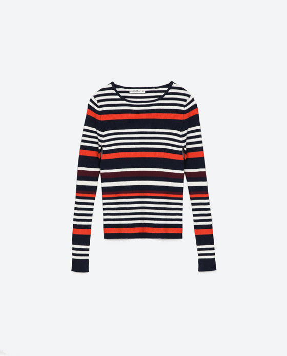 Multicolored Striped Sweater - pattern: horizontal stripes; style: standard; secondary colour: white; predominant colour: black; occasions: casual; length: standard; fit: slim fit; neckline: crew; sleeve length: long sleeve; sleeve style: standard; texture group: knits/crochet; pattern type: fabric; fibres: viscose/rayon - mix; multicoloured: multicoloured; season: s/s 2016; wardrobe: highlight
