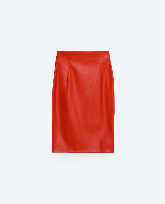 Tube Skirt - pattern: plain; style: pencil; fit: tailored/fitted; waist detail: fitted waist; waist: mid/regular rise; predominant colour: bright orange; occasions: casual, creative work; length: on the knee; fibres: polyester/polyamide - 100%; texture group: leather; pattern type: fabric; season: s/s 2016; wardrobe: highlight