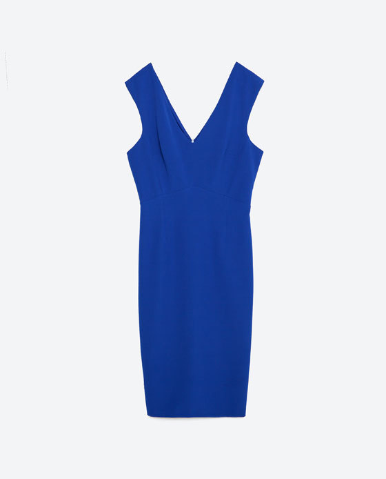 Tube Dress - neckline: v-neck; fit: tight; pattern: plain; sleeve style: sleeveless; style: bodycon; predominant colour: royal blue; occasions: evening; length: just above the knee; fibres: polyester/polyamide - stretch; sleeve length: sleeveless; texture group: jersey - clingy; pattern type: fabric; season: s/s 2016; wardrobe: event