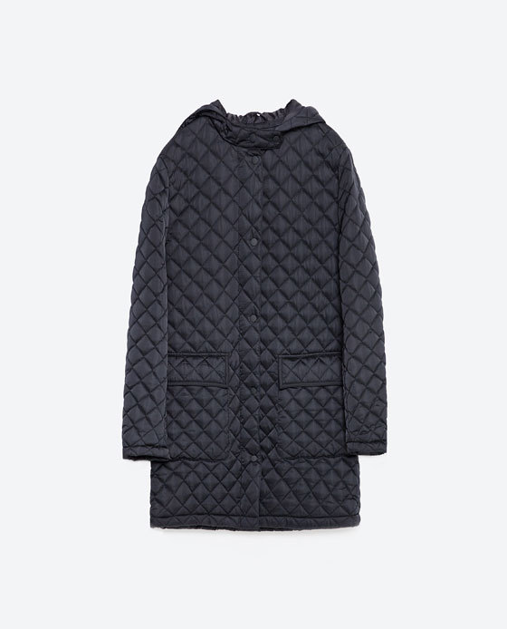 Quilted Jacket - pattern: plain; length: below the bottom; style: quilted; collar: high neck; predominant colour: navy; occasions: casual; fit: straight cut (boxy); fibres: polyester/polyamide - 100%; sleeve length: long sleeve; sleeve style: standard; collar break: high; pattern type: fabric; texture group: other - light to midweight; embellishment: quilted; season: s/s 2016; wardrobe: highlight