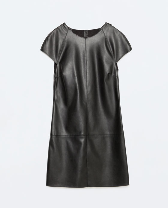 Zipped Faux Leather Dress - style: shift; pattern: plain; predominant colour: black; occasions: evening; length: just above the knee; fit: body skimming; fibres: polyester/polyamide - 100%; neckline: crew; sleeve length: short sleeve; sleeve style: standard; texture group: leather; pattern type: fabric; season: s/s 2016; wardrobe: event