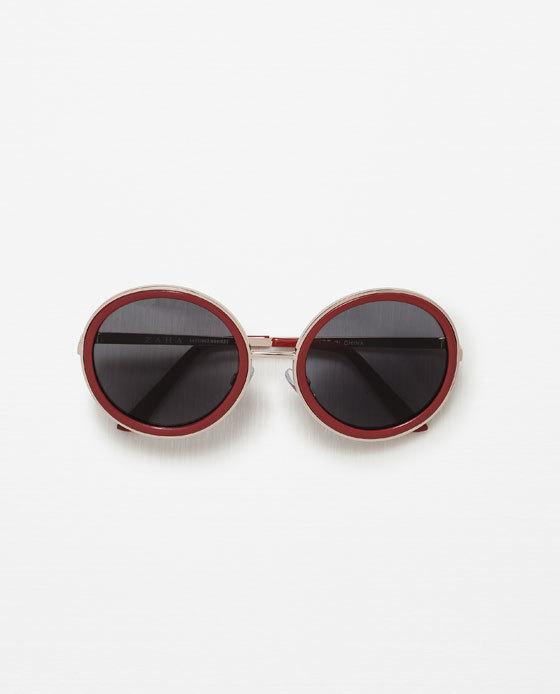 Round Sunglasses - predominant colour: true red; secondary colour: gold; occasions: casual, holiday, creative work; style: round; size: standard; material: plastic/rubber; pattern: plain; finish: plain; season: s/s 2016