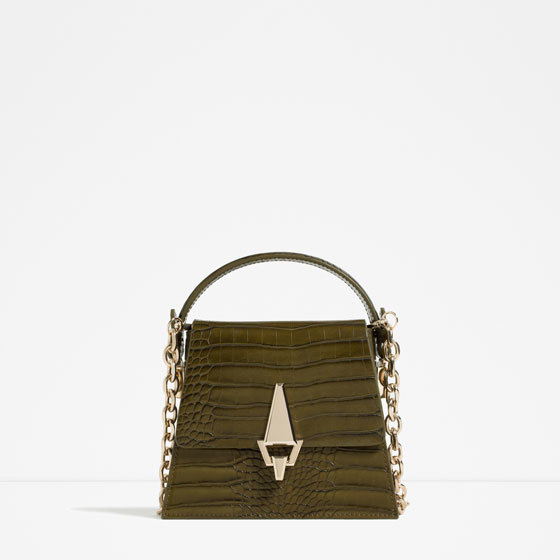Embossed City Bag With Chain Handle - predominant colour: khaki; secondary colour: gold; type of pattern: standard; style: structured bag; length: handle; size: standard; material: faux leather; pattern: animal print; finish: patent; embellishment: chain/metal; occasions: creative work; season: s/s 2016; wardrobe: highlight