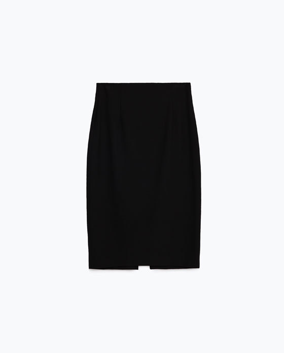 Pencil Skirt - pattern: plain; style: pencil; fit: body skimming; waist: mid/regular rise; predominant colour: black; occasions: evening; length: on the knee; fibres: polyester/polyamide - stretch; texture group: jersey - clingy; pattern type: fabric; season: s/s 2016; wardrobe: event