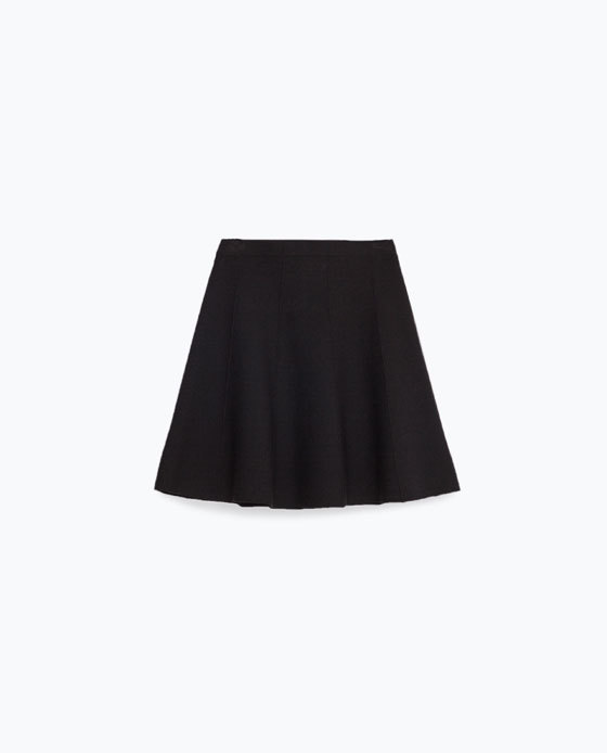 Skater Skirt - length: mid thigh; pattern: plain; fit: body skimming; waist: mid/regular rise; predominant colour: black; occasions: casual; style: mini skirt; pattern type: fabric; texture group: jersey - stretchy/drapey; fibres: viscose/rayon - mix; season: s/s 2016; wardrobe: basic