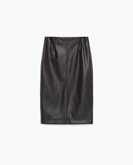 Tube Skirt - pattern: plain; style: pencil; fit: body skimming; waist detail: fitted waist; waist: mid/regular rise; predominant colour: black; occasions: evening; length: on the knee; fibres: polyester/polyamide - 100%; texture group: leather; pattern type: fabric; season: s/s 2016