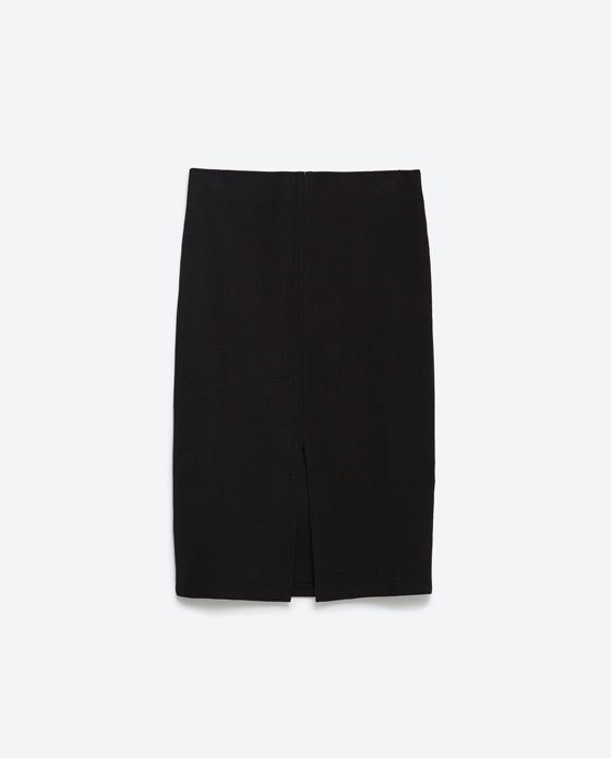 Jacquard Skirt - pattern: plain; style: pencil; fit: tailored/fitted; waist: mid/regular rise; predominant colour: black; occasions: evening; length: just above the knee; fibres: cotton - stretch; pattern type: fabric; texture group: brocade/jacquard; season: s/s 2016; wardrobe: event