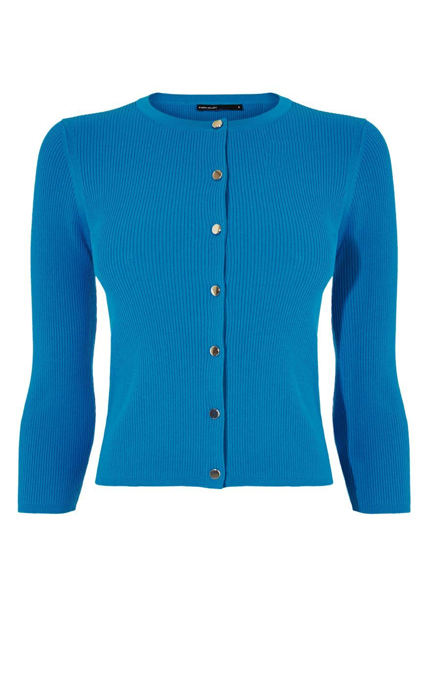 Engineered Rib Knits, Turquoise - pattern: plain; length: cropped; style: standard; predominant colour: diva blue; occasions: casual, creative work; fibres: viscose/rayon - stretch; fit: standard fit; neckline: crew; sleeve length: 3/4 length; sleeve style: standard; texture group: knits/crochet; pattern type: knitted - fine stitch; season: s/s 2016
