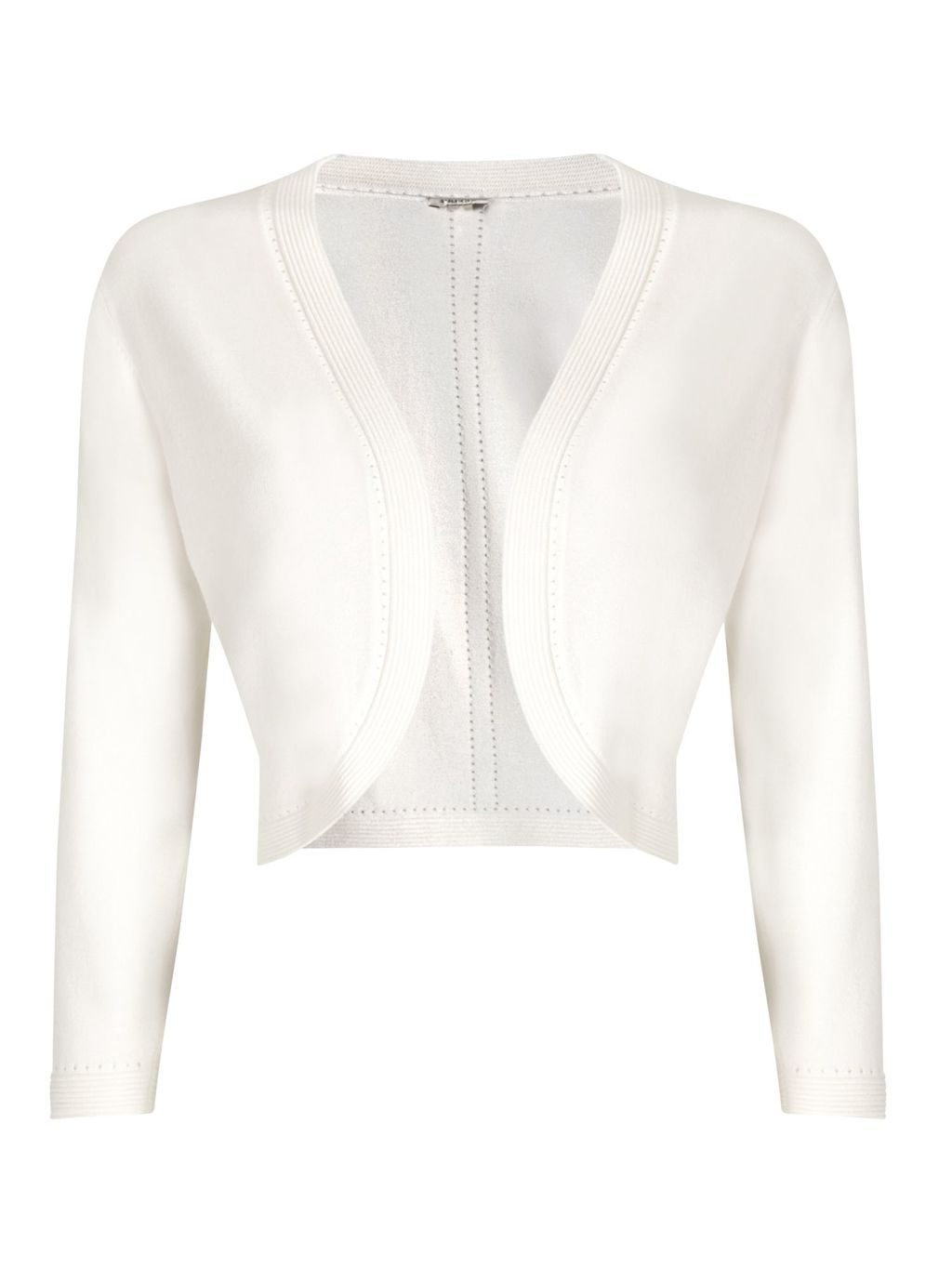 Ivory Shrug, Neutral - pattern: plain; style: bolero/shrug; length: cropped; neckline: collarless open; predominant colour: ivory/cream; occasions: occasion; fit: standard fit; sleeve length: long sleeve; sleeve style: standard; texture group: knits/crochet; pattern type: knitted - fine stitch; fibres: viscose/rayon - mix; season: s/s 2016; wardrobe: event