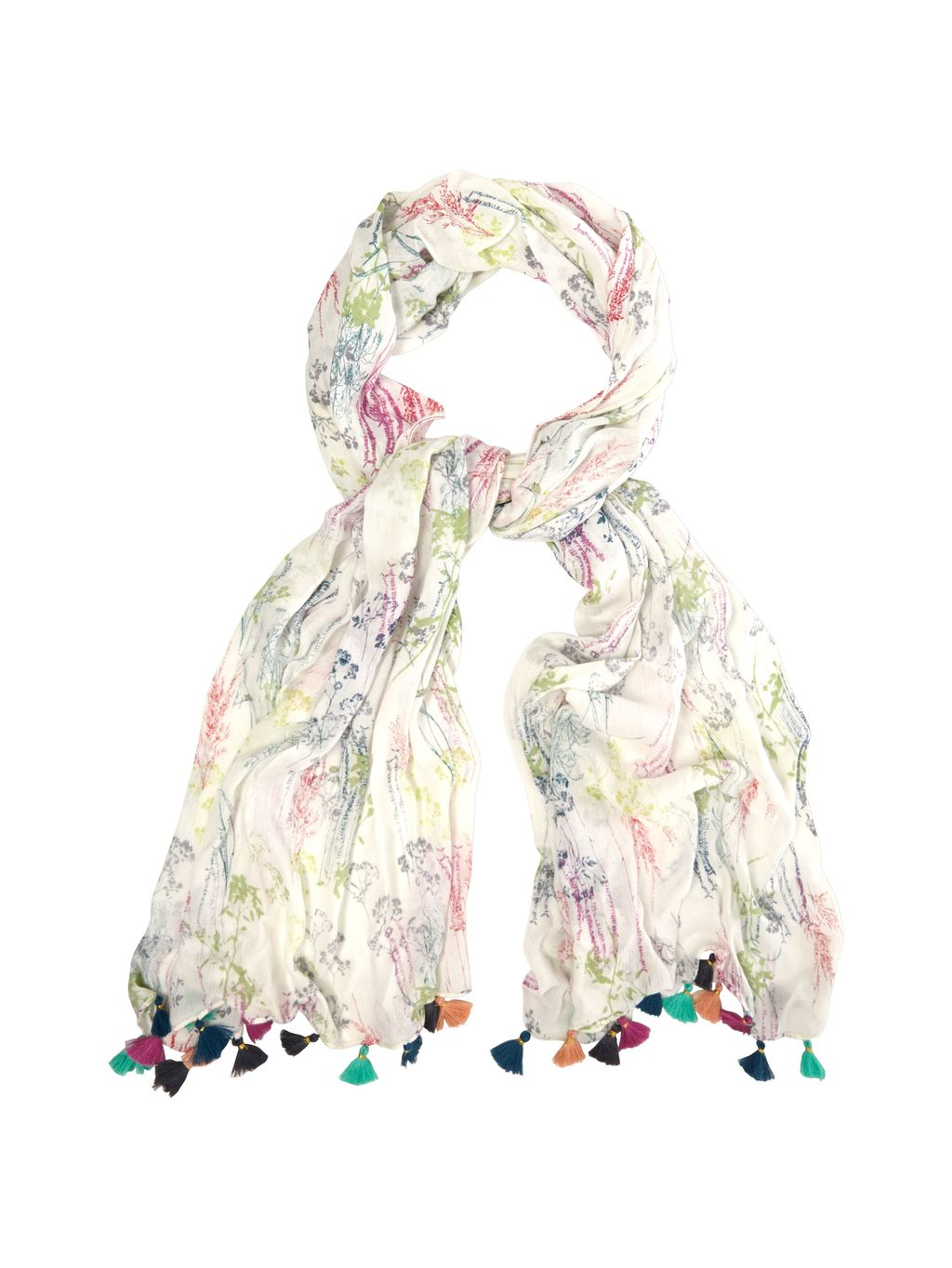 Fragrant Meadow Scarf, Multi Coloured - predominant colour: ivory/cream; occasions: casual; type of pattern: light; style: regular; size: standard; material: fabric; embellishment: tassels; pattern: patterned/print; multicoloured: multicoloured; season: s/s 2016; wardrobe: highlight