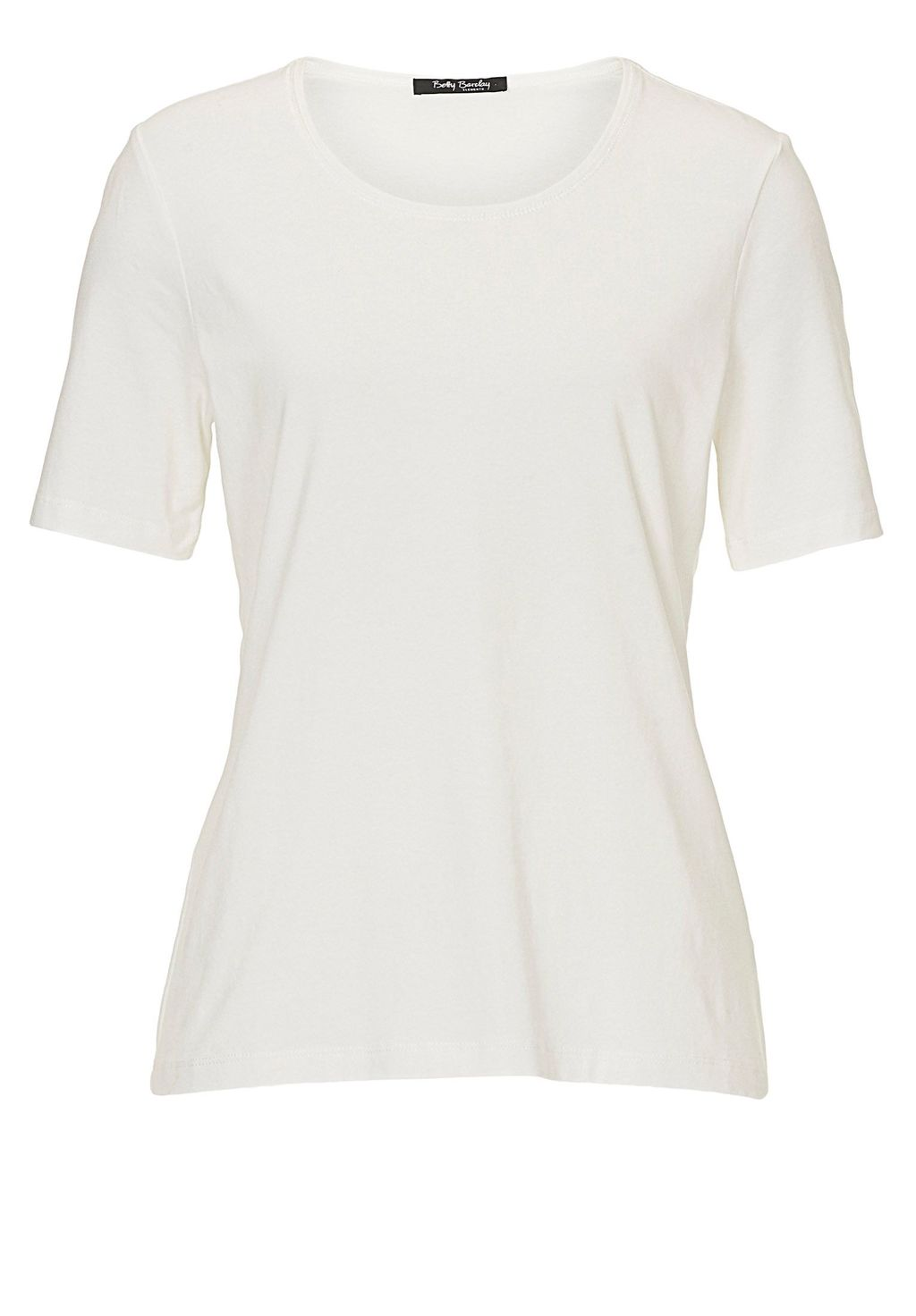 Short Sleeved T Shirt, Off White - neckline: round neck; pattern: plain; style: t-shirt; predominant colour: ivory/cream; occasions: casual; length: standard; fibres: cotton - 100%; fit: body skimming; sleeve length: short sleeve; sleeve style: standard; pattern type: fabric; texture group: jersey - stretchy/drapey; season: s/s 2016; wardrobe: basic