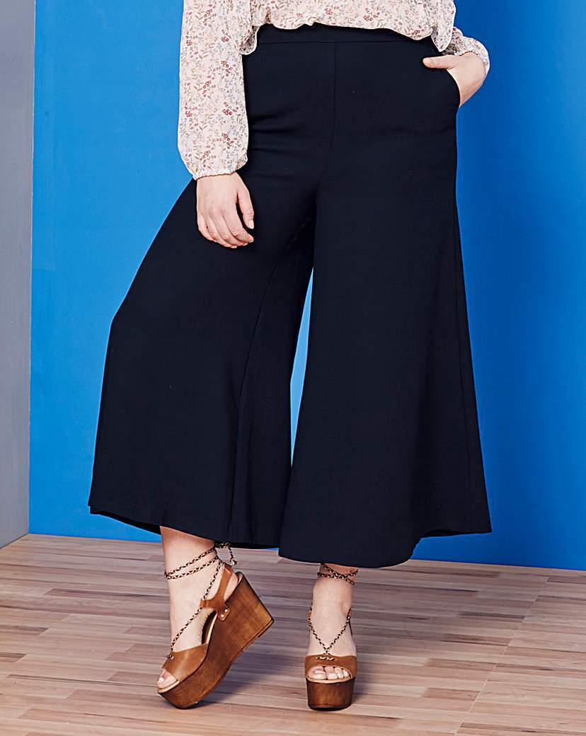Super Wide Leg Crop Trousers - pattern: plain; style: palazzo; waist: high rise; predominant colour: navy; length: ankle length; fibres: polyester/polyamide - 100%; texture group: crepes; fit: wide leg; pattern type: fabric; occasions: creative work; season: s/s 2016; wardrobe: basic