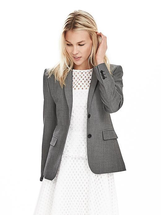 Gray Lightweight Wool Blazer Light Gray - pattern: plain; style: single breasted blazer; collar: standard lapel/rever collar; predominant colour: mid grey; occasions: work, creative work; length: standard; fit: tailored/fitted; fibres: wool - stretch; sleeve length: long sleeve; sleeve style: standard; collar break: low/open; pattern type: fabric; texture group: other - light to midweight; season: s/s 2016; wardrobe: investment
