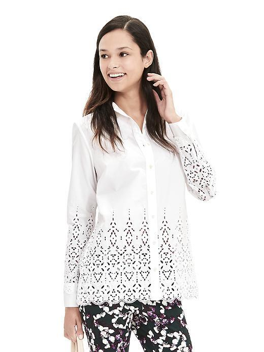 Scallop Hem Eyelet Shirt White - neckline: shirt collar/peter pan/zip with opening; pattern: plain; style: shirt; predominant colour: white; occasions: casual; length: standard; fibres: cotton - 100%; fit: body skimming; sleeve length: long sleeve; sleeve style: standard; texture group: cotton feel fabrics; pattern type: fabric; embellishment: lace; season: s/s 2016; wardrobe: highlight