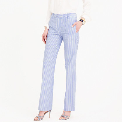 Petite Striped Cotton Pant - length: standard; pattern: striped; waist: mid/regular rise; predominant colour: pale blue; fibres: cotton - stretch; texture group: cotton feel fabrics; fit: straight leg; pattern type: fabric; style: standard; occasions: creative work; pattern size: light/subtle (bottom); season: s/s 2016