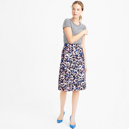 Petite A Line Skirt In Hibiscus Print - length: below the knee; fit: loose/voluminous; waist: high rise; secondary colour: pink; predominant colour: royal blue; style: a-line; fibres: polyester/polyamide - 100%; pattern type: fabric; pattern: patterned/print; texture group: other - light to midweight; occasions: creative work; pattern size: standard (bottom); multicoloured: multicoloured; season: s/s 2016; trends: vivid mix