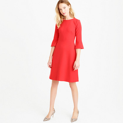 Bell Sleeve Crepe Dress - style: shift; length: mid thigh; neckline: round neck; pattern: plain; sleeve style: volant; predominant colour: true red; occasions: evening, creative work; fit: soft a-line; fibres: polyester/polyamide - 100%; sleeve length: 3/4 length; texture group: crepes; pattern type: fabric; season: s/s 2016; wardrobe: highlight