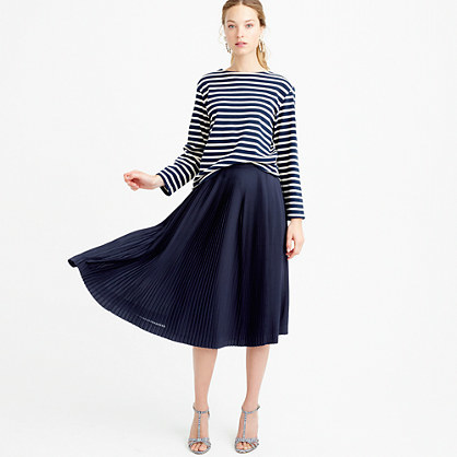 Petite Micro Pleated Midi Skirt - length: below the knee; pattern: plain; fit: loose/voluminous; style: pleated; waist: high rise; predominant colour: navy; fibres: polyester/polyamide - 100%; occasions: occasion; pattern type: fabric; texture group: other - light to midweight; season: s/s 2016; wardrobe: event