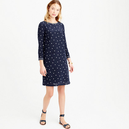 Tall Silk Shift Dress In Polka Dot - style: shift; neckline: round neck; pattern: polka dot; secondary colour: white; predominant colour: navy; length: just above the knee; fit: soft a-line; fibres: silk - 100%; sleeve length: 3/4 length; sleeve style: standard; pattern type: fabric; pattern size: standard; texture group: other - light to midweight; occasions: creative work; season: s/s 2016; wardrobe: highlight