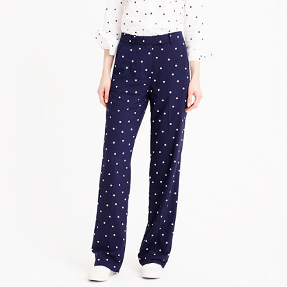 Petite Drapey Pant In Polka Dot - length: standard; pattern: polka dot; waist: mid/regular rise; secondary colour: white; predominant colour: navy; fibres: polyester/polyamide - mix; fit: straight leg; pattern type: fabric; texture group: other - light to midweight; style: standard; occasions: creative work; pattern size: standard (bottom); season: s/s 2016; wardrobe: highlight