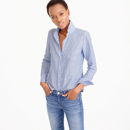 Petite Perfect Shirt In Striped Cotton Linen - neckline: shirt collar/peter pan/zip with opening; pattern: vertical stripes; style: shirt; bust detail: buttons at bust (in middle at breastbone)/zip detail at bust; predominant colour: pale blue; occasions: casual, creative work; length: standard; fibres: cotton - mix; fit: body skimming; sleeve length: long sleeve; sleeve style: standard; texture group: cotton feel fabrics; pattern type: fabric; pattern size: standard; season: s/s 2016