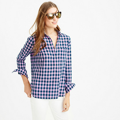 Gingham Popover Shirt In Blue And Lilac - neckline: shirt collar/peter pan/zip with opening; pattern: checked/gingham; style: shirt; secondary colour: blush; predominant colour: royal blue; length: standard; fibres: cotton - 100%; fit: body skimming; sleeve length: 3/4 length; sleeve style: standard; texture group: cotton feel fabrics; pattern type: fabric; pattern size: standard; occasions: creative work; season: s/s 2016; wardrobe: highlight