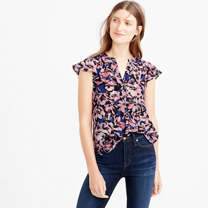 Flutter Sleeve Silk Top In Hibiscus Print - sleeve style: capped; style: shirt; secondary colour: blush; predominant colour: royal blue; occasions: casual, creative work; length: standard; neckline: collarstand & mandarin with v-neck; fibres: silk - 100%; fit: straight cut; sleeve length: short sleeve; pattern type: fabric; pattern: florals; texture group: woven light midweight; pattern size: big & busy (top); multicoloured: multicoloured; season: s/s 2016; wardrobe: highlight