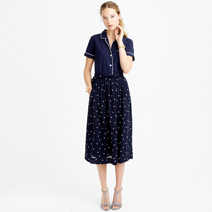 Petite Pleated Midi Skirt In Polka Dot - length: below the knee; fit: loose/voluminous; waist: high rise; secondary colour: white; predominant colour: navy; style: a-line; fibres: polyester/polyamide - 100%; pattern type: fabric; pattern: patterned/print; texture group: other - light to midweight; occasions: creative work; pattern size: standard (bottom); season: s/s 2016; wardrobe: highlight