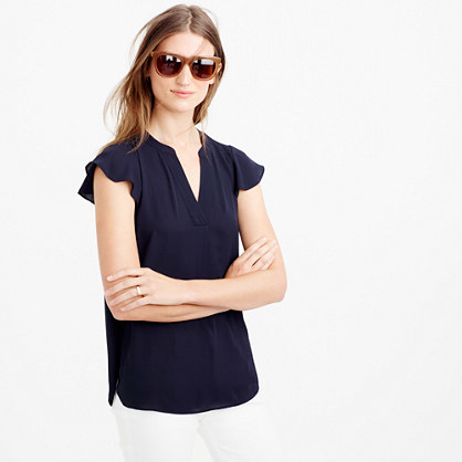 Flutter Sleeve Top - neckline: v-neck; pattern: plain; sleeve style: volant; predominant colour: navy; occasions: casual, creative work; length: standard; style: top; fibres: polyester/polyamide - 100%; fit: body skimming; sleeve length: short sleeve; pattern type: fabric; texture group: other - light to midweight; season: s/s 2016; wardrobe: basic