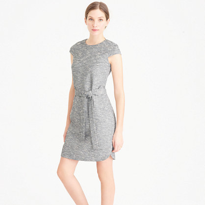 Belted Dress In Black And White Tweed - style: shift; sleeve style: capped; fit: fitted at waist; predominant colour: light grey; occasions: evening, work; length: just above the knee; fibres: polyester/polyamide - mix; neckline: crew; sleeve length: short sleeve; pattern type: fabric; pattern size: standard; pattern: patterned/print; texture group: woven light midweight; season: s/s 2016; wardrobe: highlight