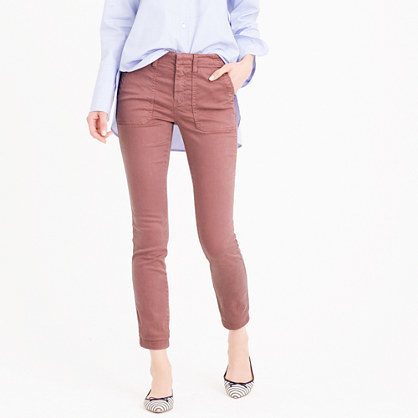 Petite Skinny Stretch Cargo Pant - length: standard; pattern: plain; waist: mid/regular rise; occasions: casual, creative work; fibres: cotton - stretch; texture group: denim; fit: slim leg; pattern type: fabric; style: standard; predominant colour: dusky pink; season: s/s 2016; wardrobe: highlight