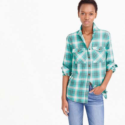 Boyfriend Shirt In Emerald Plaid - neckline: shirt collar/peter pan/zip with opening; pattern: checked/gingham; length: below the bottom; style: blouse; secondary colour: ivory/cream; predominant colour: emerald green; occasions: casual, creative work; fibres: cotton - stretch; fit: body skimming; sleeve length: 3/4 length; sleeve style: standard; bust detail: bulky details at bust; pattern type: fabric; pattern size: standard; texture group: other - light to midweight; season: s/s 2016; wardrobe: highlight