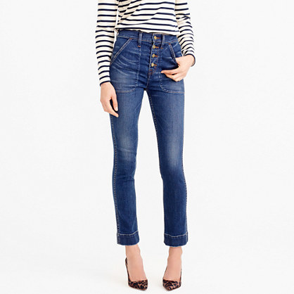 Point Sur Victoria Vintage Jean - style: skinny leg; pattern: plain; waist: high rise; pocket detail: traditional 5 pocket; predominant colour: navy; occasions: casual; length: ankle length; fibres: cotton - stretch; jeans detail: whiskering, shading down centre of thigh; texture group: denim; pattern type: fabric; season: s/s 2016