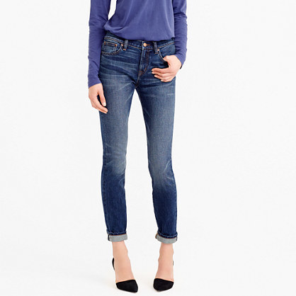 Toothpick Selvedge Jean In Mc Henry Wash - style: skinny leg; pattern: plain; pocket detail: traditional 5 pocket; waist: mid/regular rise; predominant colour: navy; occasions: casual; length: ankle length; fibres: cotton - stretch; jeans detail: shading down centre of thigh; jeans & bottoms detail: turn ups; texture group: denim; pattern type: fabric; season: s/s 2016