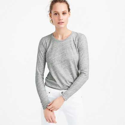 Vintage Cotton Long Sleeve T Shirt In Metallic - neckline: round neck; pattern: plain; style: t-shirt; predominant colour: light grey; occasions: casual, work, creative work; length: standard; fibres: cotton - 100%; fit: body skimming; sleeve length: long sleeve; sleeve style: standard; pattern type: fabric; texture group: jersey - stretchy/drapey; season: s/s 2016; wardrobe: basic