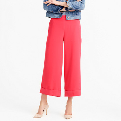Cropped Wide Leg Pull On Pant - pattern: plain; waist: mid/regular rise; predominant colour: coral; occasions: evening, creative work; fibres: polyester/polyamide - 100%; waist detail: feature waist detail; texture group: crepes; pattern type: fabric; season: s/s 2016; style: culotte; wardrobe: highlight