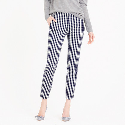 Petite Martie Pant In Gingham - pattern: checked/gingham; waist: mid/regular rise; secondary colour: white; predominant colour: navy; occasions: casual, creative work; length: ankle length; fibres: cotton - stretch; texture group: cotton feel fabrics; fit: slim leg; pattern type: fabric; style: standard; pattern size: standard (bottom); season: s/s 2016; wardrobe: highlight
