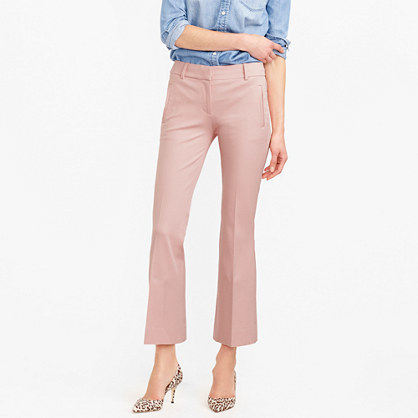 Petite Teddie Pant - pattern: plain; waist: mid/regular rise; predominant colour: blush; occasions: casual, creative work; length: ankle length; fibres: cotton - stretch; waist detail: narrow waistband; texture group: cotton feel fabrics; fit: bootcut; pattern type: fabric; style: standard; season: s/s 2016; wardrobe: basic