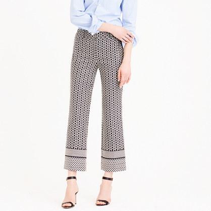Teddie Pant In Paneled Geometric Jacquard - waist: high rise; secondary colour: ivory/cream; predominant colour: navy; occasions: casual, creative work; length: ankle length; fibres: cotton - mix; fit: wide leg; pattern type: fabric; pattern: patterned/print; texture group: woven light midweight; style: standard; pattern size: standard (bottom); season: s/s 2016; wardrobe: highlight