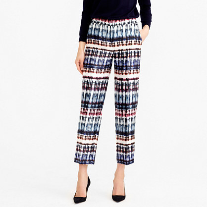 Collection Patio Pant In Silk Wool Tie Dye - waist: mid/regular rise; predominant colour: navy; secondary colour: chocolate brown; length: ankle length; fibres: silk - mix; fit: straight leg; pattern type: fabric; pattern: patterned/print; texture group: other - light to midweight; style: standard; occasions: creative work; pattern size: standard (bottom); season: s/s 2016; wardrobe: highlight