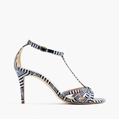 Printed Multistrap Sandals - secondary colour: white; predominant colour: black; occasions: evening; material: leather; heel height: high; ankle detail: ankle strap; heel: stiletto; toe: open toe/peeptoe; style: strappy; trends: monochrome, graphic stripes; finish: plain; pattern: patterned/print; multicoloured: multicoloured; season: s/s 2016; wardrobe: event