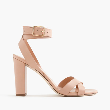 Leather Cross Strap Sandals - predominant colour: nude; occasions: evening, occasion; material: leather; heel height: high; ankle detail: ankle strap; heel: block; toe: open toe/peeptoe; style: strappy; finish: plain; pattern: plain; season: s/s 2016; wardrobe: event
