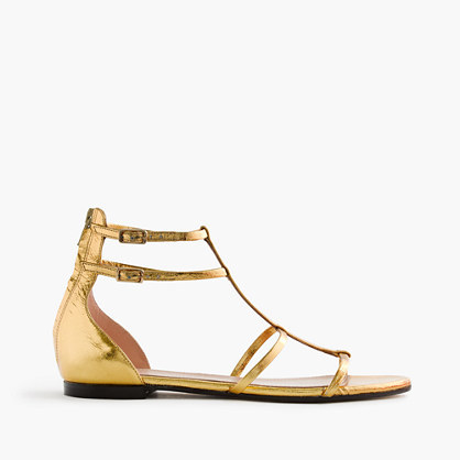 Skinny Strap Gladiator Sandals In Crackled Metallic Leather - predominant colour: gold; occasions: casual, holiday; material: leather; heel height: flat; ankle detail: ankle strap; heel: standard; toe: open toe/peeptoe; style: strappy; finish: metallic; pattern: plain; season: s/s 2016; wardrobe: basic