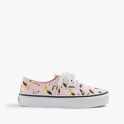 Vans® Authentic Bananas Sneakers In Larger - predominant colour: blush; secondary colour: black; occasions: casual; material: fabric; heel height: flat; toe: round toe; style: trainers; finish: plain; pattern: patterned/print; season: s/s 2016